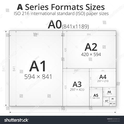 illustration comparsion paper size format series stock