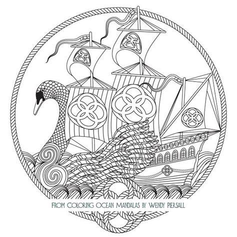 celtic swan boat  coloring ocean mandalas