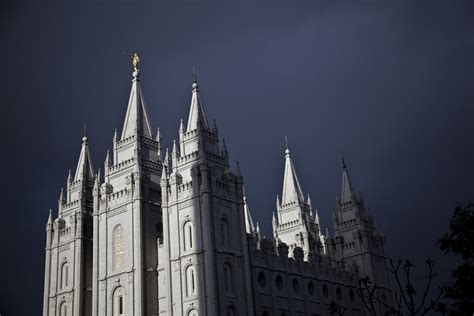 salt lake temple during a storm