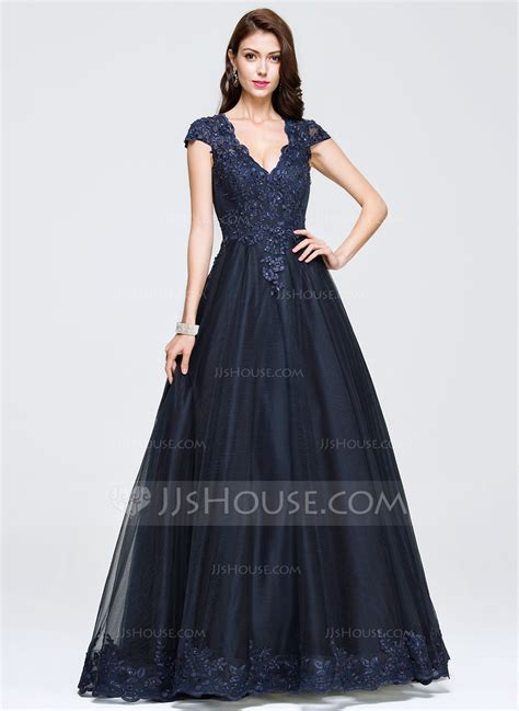 Ball Gown V neck Floor Length Tulle Prom Dresses With Beading Appliques Lace (018075969)   Prom