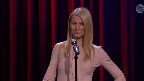 gwyneth paltrow sings broadway versions of rap songs watch gwyneth paltrow and jimmy fallon sing broadway