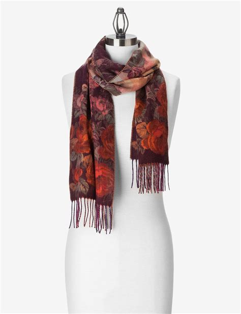 v fraas multicolor floral cashmink muffler scarf orange