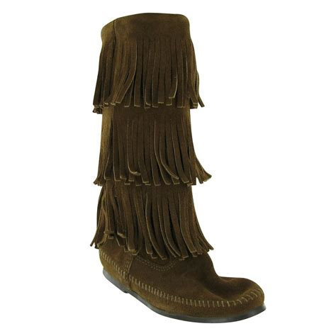 fridge boots minnetonka 3 layer fringe boot womens boots