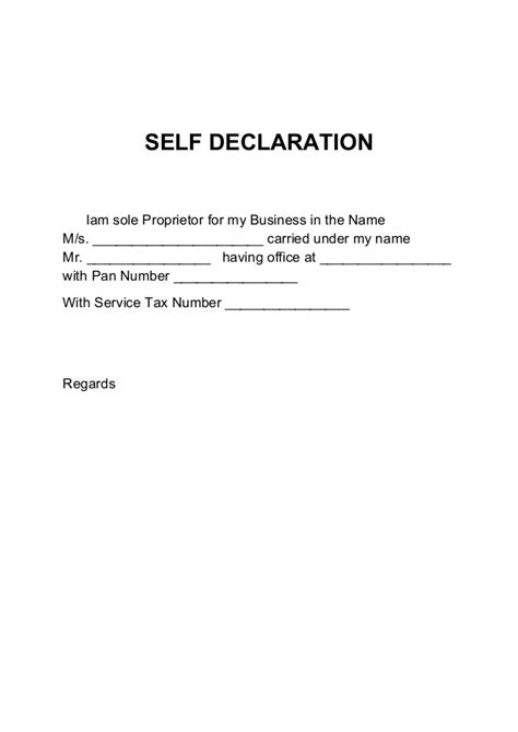 letter of declaration format pan card declaration letter format 1