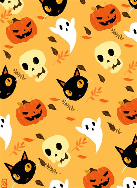 halloween pattern tumblr cat halloween wallpaper skull fall autumn ghost pumpkin