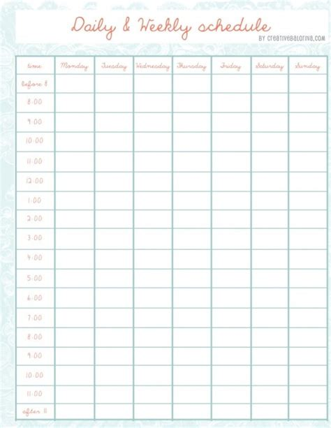 monthly time schedule template daily and weekly schedule template for helloalive
