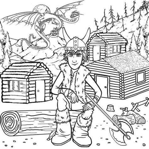 viking coloring pages for adults two headed dragon wooden log viking cabins hiccup how to