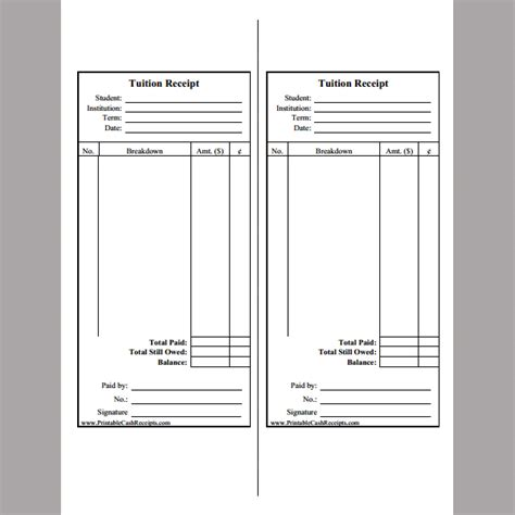 receipt template for tuition fee format of tuition fee