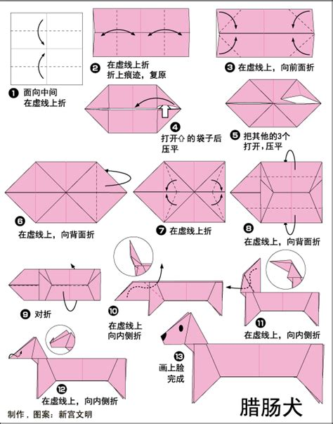 origami sausage 猎肠犬折纸的折法步骤教程图解 r工坊