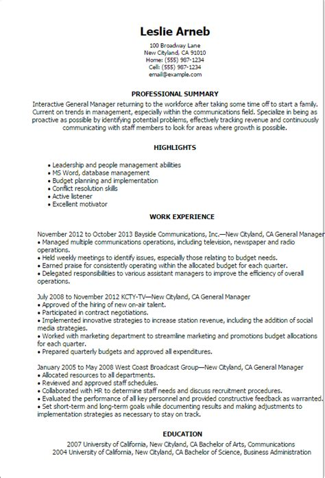 Cv Template General Manager General Manager Resume Uxhandy