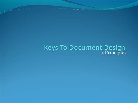 document layout design principles five principles of document design