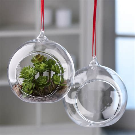 glass ornaments clear glass side opened terrarium ornaments