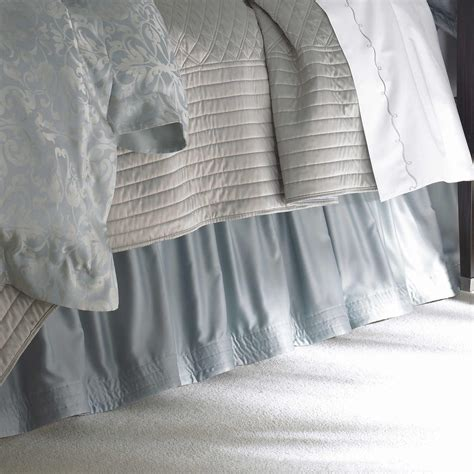 silver bed skirt lili alessandra jackie in luxurious silk tencel fabric in blue with silver jacquard
