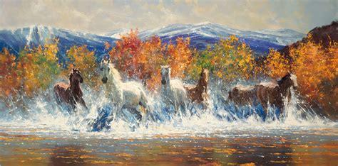 bob ross painting horses last autumn 30 x 60 robert hagan by robert hagan on