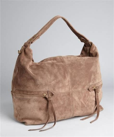 Kooba Large Devin Hobo by Kooba Taupe Suede Leather Crosby Zip Pocket Slouchy Hobo