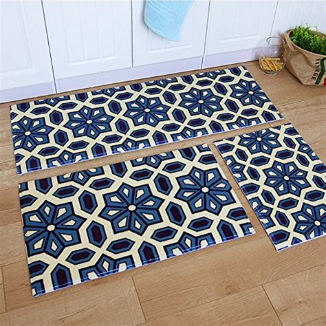 Ustide 3 piece bohemia washable bathroom rug kitchen rug set kitchen memory foam rug soft rug