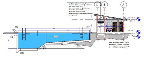 section of swimming pool workable working drawings the appreciation of modern age