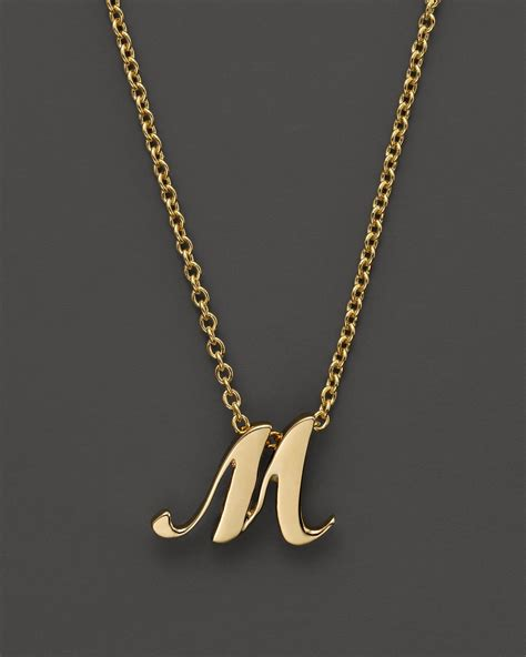 Letter Necklace Roberto Coin 18k Yellow Gold Letter Initial Pendant Necklace 16 Quot In Metallic Lyst