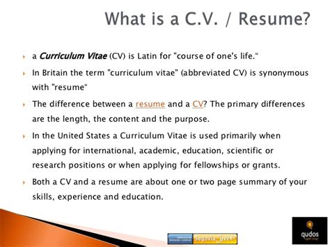 Resume Or Cv Difference Cv Resume Resume Cv Difference