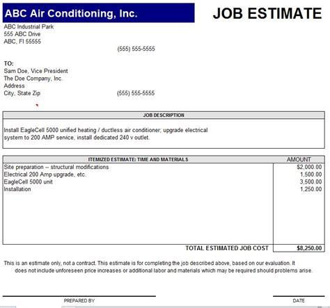10 job estimate templates excel pdf formats