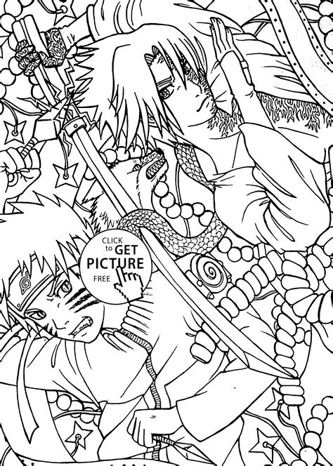 anime coloring pages naruto naruto vs sasuke anime coloring pages for kids printable free