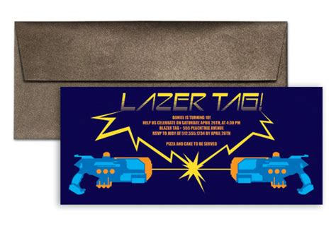 9x4 card template laser tag bday birthday invitation wording 9x4 in