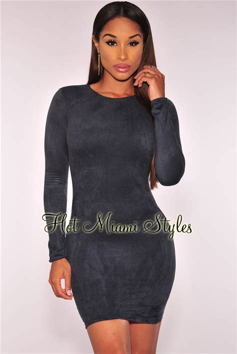 Sleeve Faux Suede Dress navy blue faux suede sleeves dress
