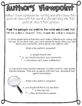 Author S Point Of View Worksheets author s purpose and point of view by snaps tpt