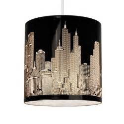 Cartwright Lighting L Shades Modern New York Skyline Gloss Black Metal Ceiling Pendant