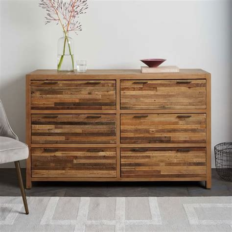 bay reclaimed pine 6 drawer dresser rustic