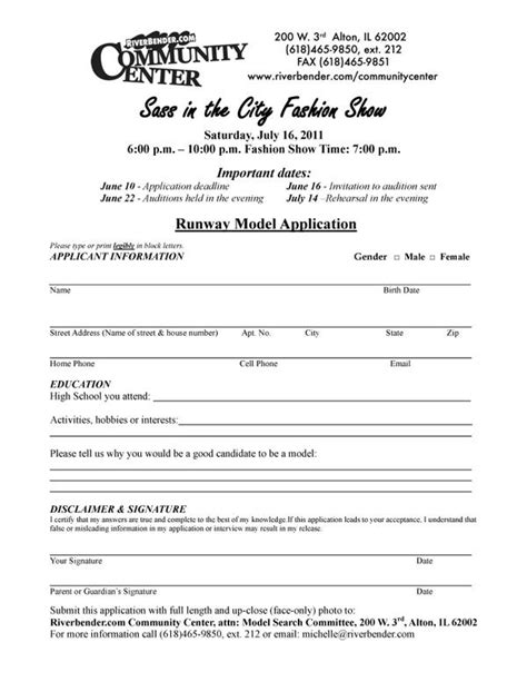 fashion model application form template fashion show model applications due riverbender