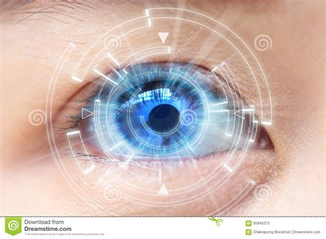 Contact Lens For Blind Eye Close Up Of Woman S Blue Eye High Technologies In The