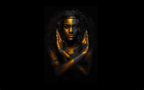 gold egyptian wallpaper egyptian qeen gold black woman 1920x1200 resolution