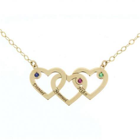 cadenas con nombre oro colgante corazones con cadena y nombres en oro joya