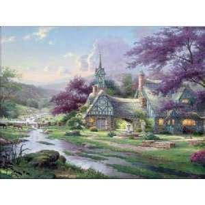 Kinkade Clocktower Cottage by Kinkade Everetts Cottage Flower Gardens Counted