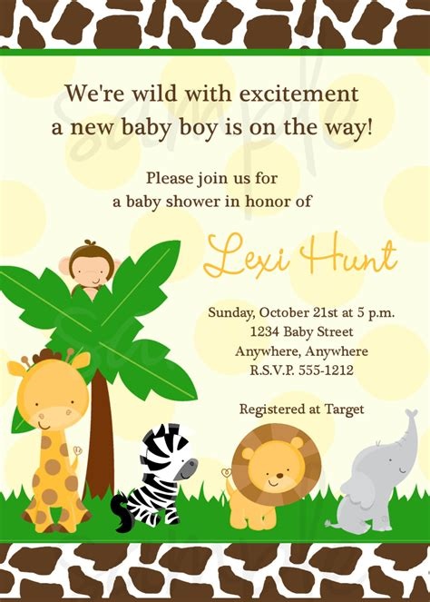 Safari Baby Shower Invitations by Safari Jungle Baby Shower Invitation