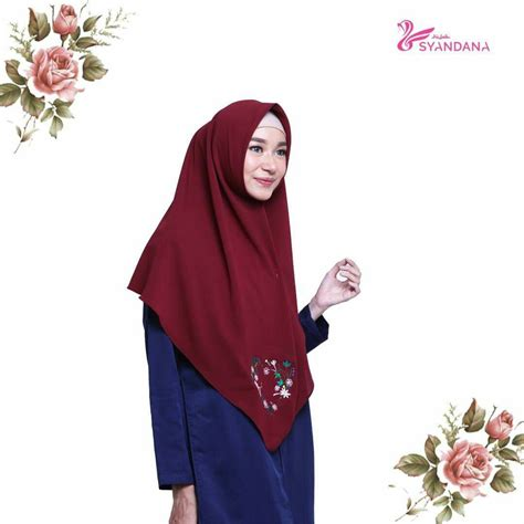 Jilbab Segi Empat Jumbo Motif jual jilbab segi empat bordir 7 syandana