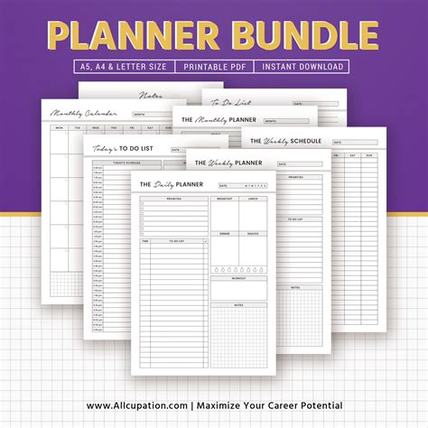 printable planner bundle planner bundle daily weekly monthly planner notes to