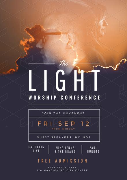 templates for church posters the light worship conference church flyer template