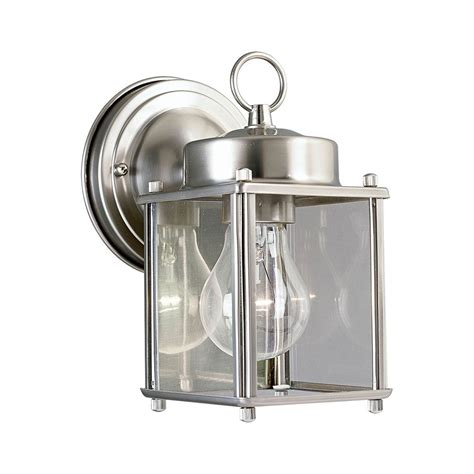 Nickel Outdoor Wall Light Progress Outdoor Wall Light With Clear Glass In Brushed Nickel Finish P5607 09 Destination