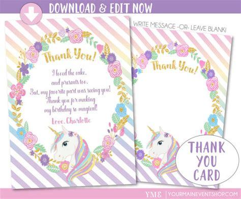 printable unicorn thank you cards unicorn thank you card unicorn party magical rainbow