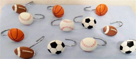 sports shower curtain hooks 12 shower curtain hooks all sports football basketball