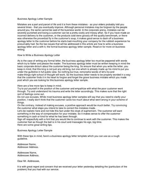 Apology Letter Business 8 best images of sle letter apology for mistake