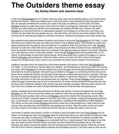themes in the outsiders novel the outsiders theme essay ashleyrawirioc