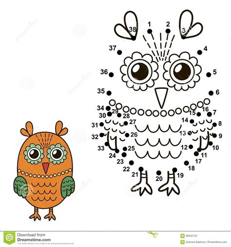 connect the colors connect the dots to draw the owl and color it stock