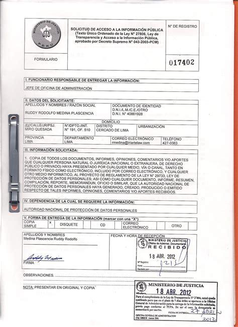 formato de solicitud de informacion publica propuestas sugerencias y comentarios remitidos al minjus