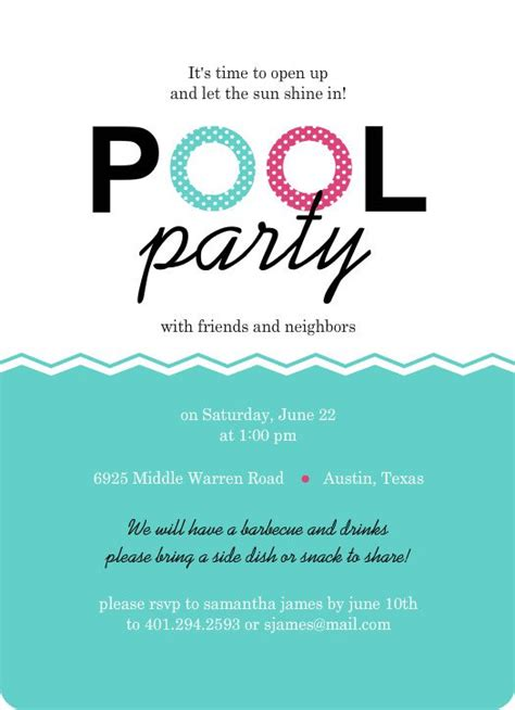 swimming pool invitations templates pool birthday invitation templates