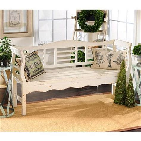distressed white wood bench kirkland s home decor