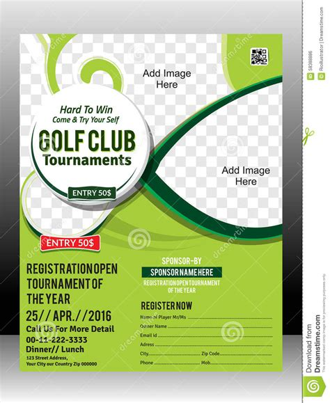 golf cart tournament cards template golf tournament flyer template design illustration stock