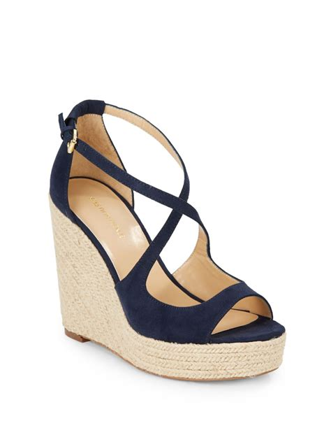 saks fifth avenue melody espadrille wedge sandals in blue
